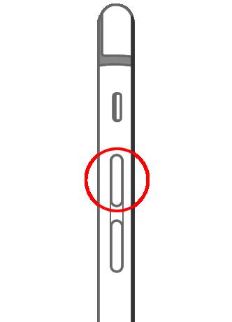 iPhone 6/iPhone 6 Plus 音量ボタン:上(音量を上げるボタン)